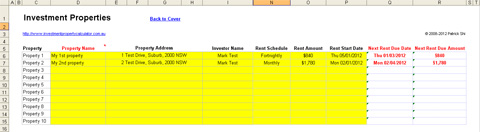 Investment Property Rent Collection Management Spreadsheet - Properties