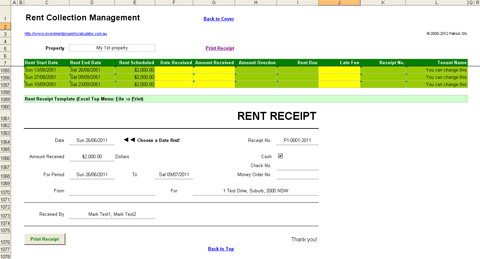 Investment Property Rent Collection Management Spreadsheet - Receipt
